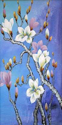 花朵鲜花花骨朵蓝色背景手绘玄关