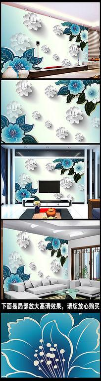 梦幻花朵3D电视背景墙