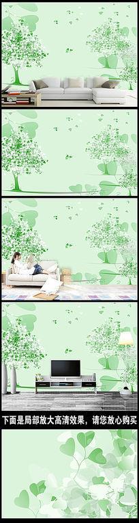 手绘绿树电视背景墙