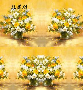 油画白色黄色花卉视频背景
