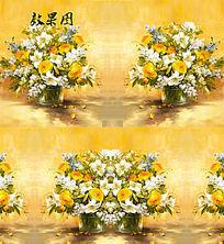 油画白色黄色花卉视频背景 FLA