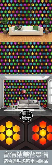 立体光影六边形电视背景墙