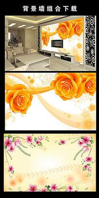 玫瑰花梦幻时尚花朵电视墙模板下载