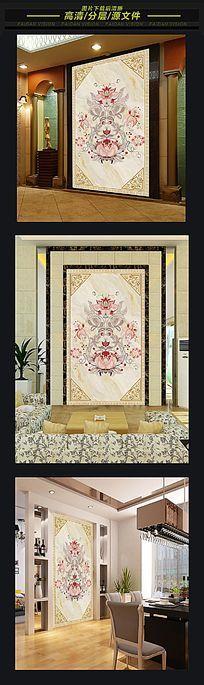 欧式花卉大理石纹玄关壁画