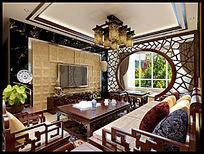 中式客餐厅效果图