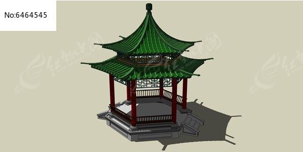 中式双层亭子skp素材下载_构筑物设计图片图片
