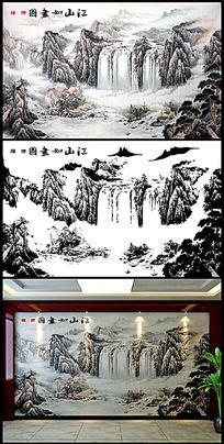 国画山水背景墙