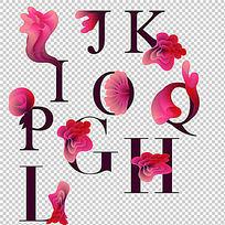 花纹花朵创意字母字体设计 PSD