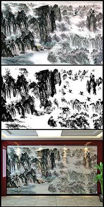 山水国画电视背景墙
