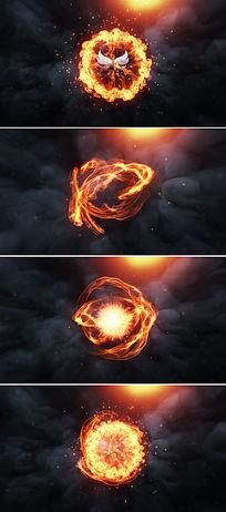 震撼火焰冲击燃烧logo揭示特效片头模板