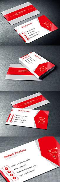 红色大气创意广告公司名片设计