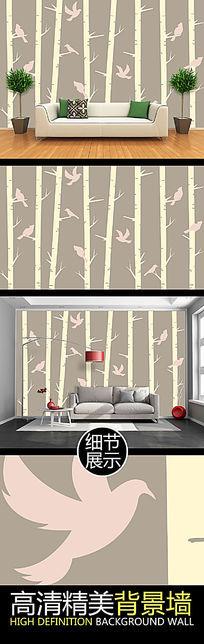简约手绘树林飞鸟电视背景墙