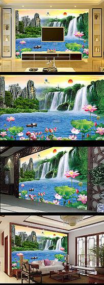 瀑布图客厅电视背景墙