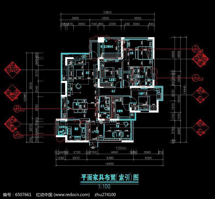 标准套房平面家具布置图