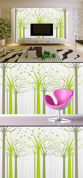 手绘抽象树林飞鸟背景墙壁画