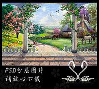 3D罗马柱欧式油画风景背景墙