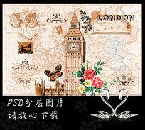 欧美复古大本钟手绘玫瑰背景墙