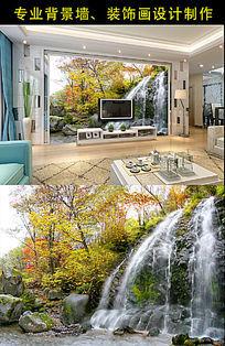 自然风景山水画背景墙