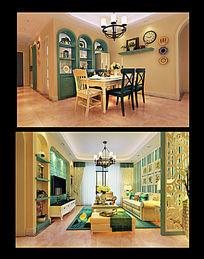 地中海风格客餐厅及入户模型与整体设计