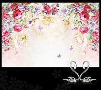 复古玫瑰牡丹背景墙