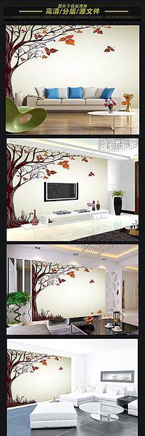 立体3D抽象树林蝴蝶背景墙壁画