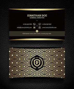 黑色金色欧式纹理高档大气名片模板