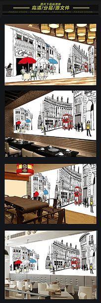 咖啡馆KTV餐厅手绘城市背景墙