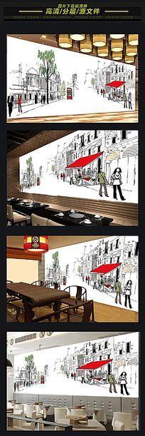 咖啡馆KTV手绘城市背景墙
