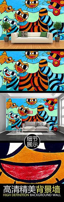 卡通手绘蜡笔画装饰背景墙