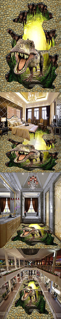 梦幻恐龙立体地板地画