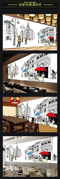 欧式咖啡厅酒店背景墙装饰画