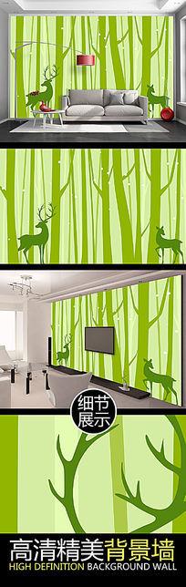 清新树林麋鹿客厅电视背景墙