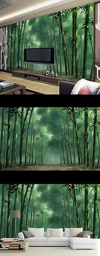 现代唯美竹林深处古典壁画电视背景墙