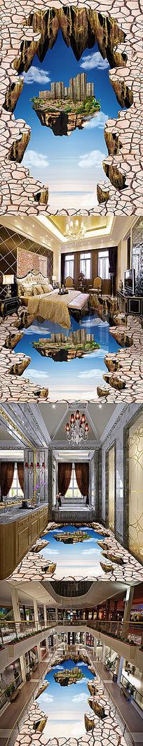 悬浮小岛天空立体地画