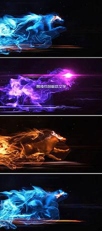 奔跑中的粒子烟雾狼形成LOGO图标开场片头模板