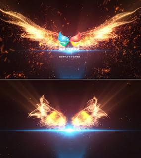 粒子火焰燃烧翅膀logo显示模板