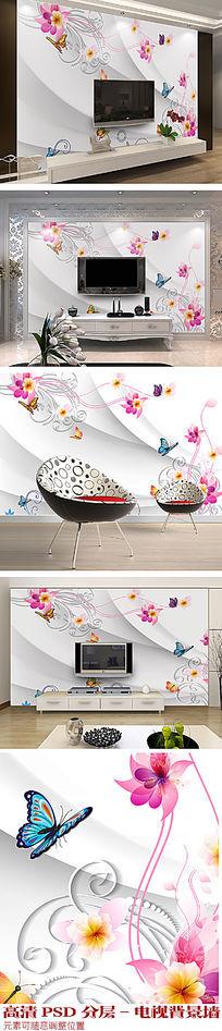 梦幻时尚花朵3D电视背景墙