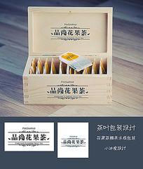 木质茶叶盒包装表面LOGO设计花果茶包装和吊牌设计