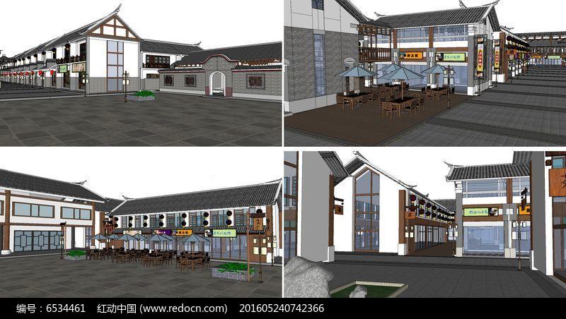 SU模型古建商业街图片