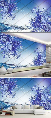 蓝玫瑰立体背景墙装饰画