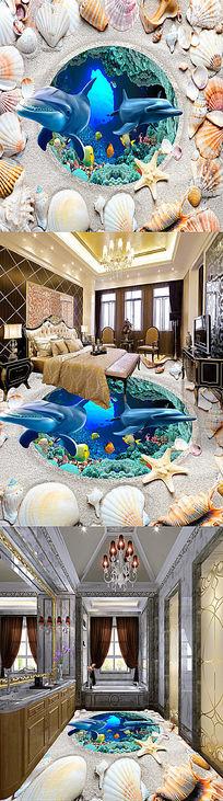 母子情海底世界立体3D地贴地画