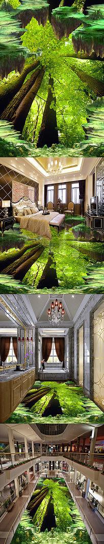 清新绿色树林3D立体地画