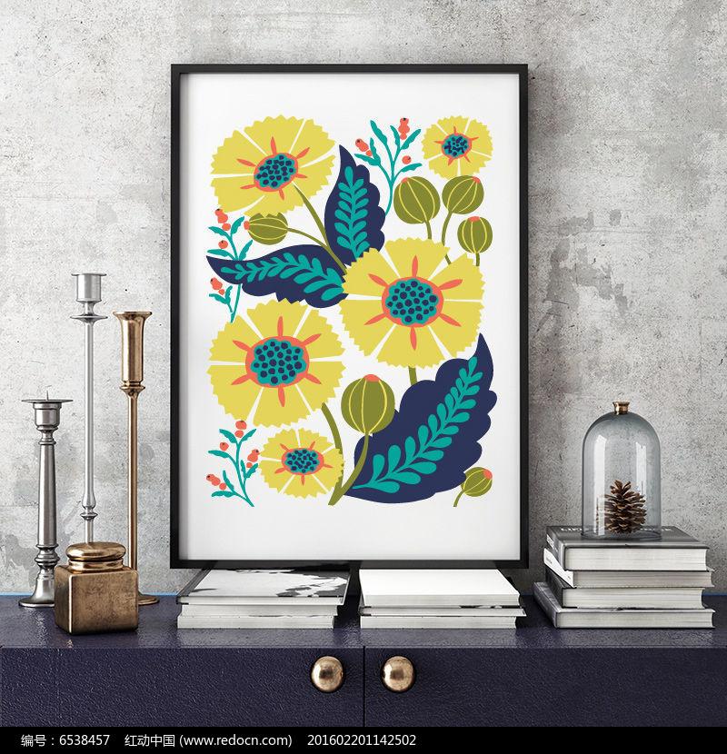 矢量手绘花装饰画图片