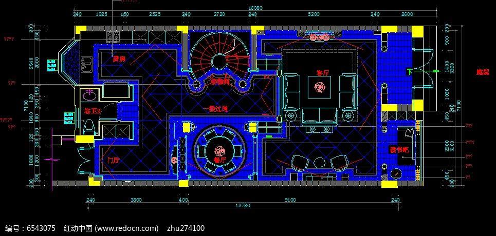 别墅一层地面铺贴示意图cad素材下载_室内装修设计图片