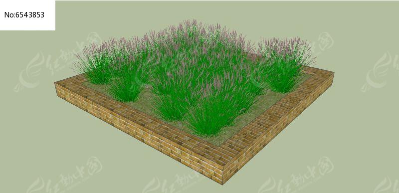 原创设计稿 3d模型库 花坛树池 方形石砖简约花坛