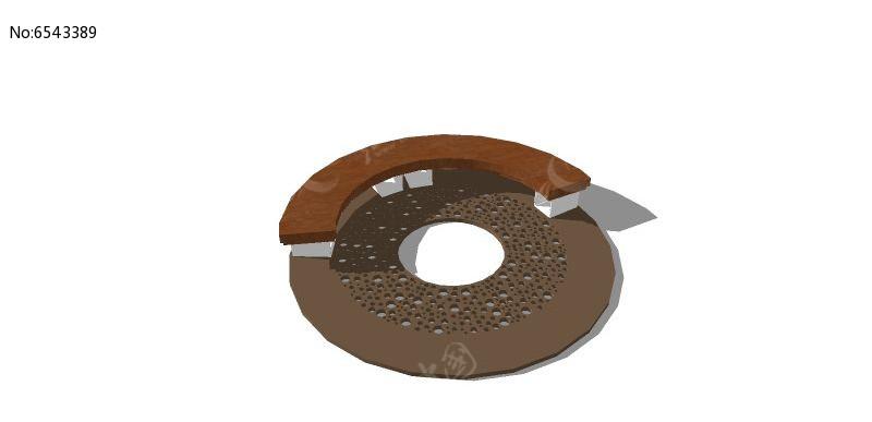 弧形木制座椅树池skp素材下载_花坛树池设计图片