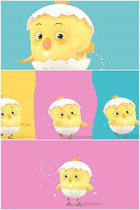 卡通可爱蛋壳小鸡跳舞高清视频素材带音乐