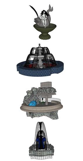 喷泉雕塑SU模型集合 skp