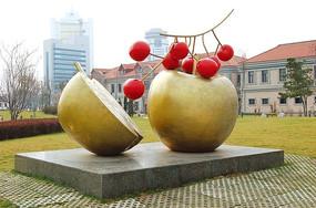 苹果与樱桃雕塑小品