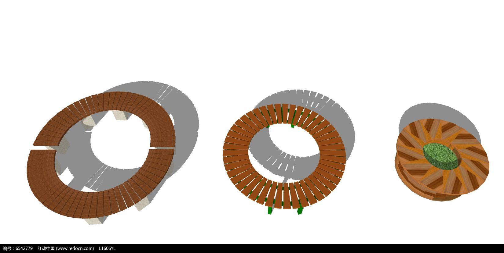三款木制圆形树池skp素材下载_花坛树池设计图片
